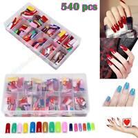 540 Pcs French False Acrylic Gel Nail Art Tips Half with Box Salon Kit 27 Color