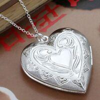 *UK* 925 SILVER PLT BIG OPEN PATTERNED LOVE HEART PHOTO LOCKET PENDANT NECKLACE