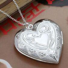 925 Silver Plt Big Open Patterned Love Heart Photo Locket Pendant Necklace a