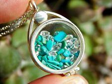 Natural Turquoise + NY Herkimer Diamond Crystals Silver Locket Pendant BB19