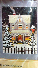 "1986 NEW 12"" X 16"" CREWEL EMBROIDERY KIT BY CREATIVE CIRCLE 2518 A WINTERS NIGHT"