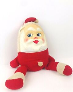 Vintage Humpty Dumpty Egg Plush Stuffed Santa Claus Knickerbocker