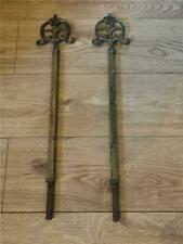 Large Antique Heavy Brass, Steel Fire Dog Andirons, Grate Pillars ???