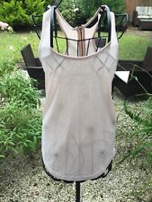 Nude Pink Sleeveless Tshirt Vest Top With Zipped Racer Back Size 6