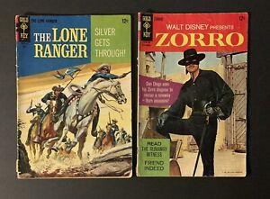 THE LONE RANGER #7 & ZORRO #7 (1967) Dell Gold Key Comics Silver Age VG
