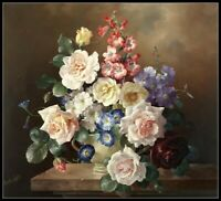 Still Life of Flowers in a Plain White Bowl - Chart Counted Cross Stitch Pattern