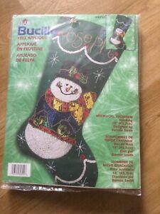 Bucilla Whimsical Snowmen Felt Applique Stocking Kit New