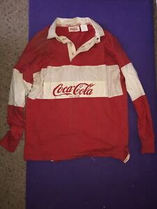 VTG 90's Coca-Cola Colorblock Spellout Rugby Polo Long Sleeve Shirt Size M Red
