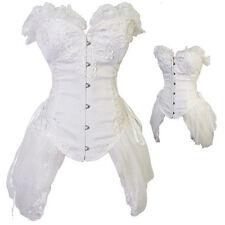 Women's White Overbust Bustier Waist Trainer Corset Top Wedding Party Plus Size