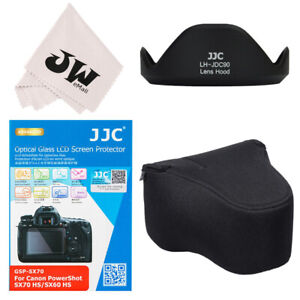 4in1 Lens Hood+Glass Screen Protector+Bag Pouch for Canon Powershot SX70 SX60 HS