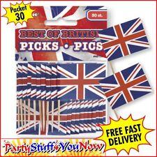 30 Union Jack British Sandwich Party Flag Food Cup Cake Cocktail Sticks Picks BN