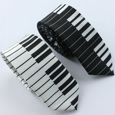 "Lot 2PCS of Black&White piano keyboard Music Polyester Necktie SKINNY Tie 2""Tie"