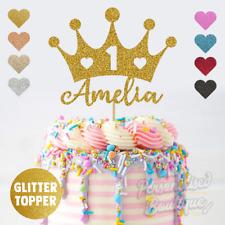 Personalised Custom Glitter Princess Crown Name & Age Girls Birthday Cake Topper