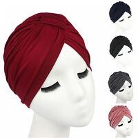 Women Stretchable Indian Chemo Pleated Turban Hat Head Wrap Hijab Cap Headwrap