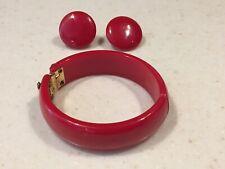 Vintage Red Bakelite Hinged Clamper Bracelet and Clip Earrings