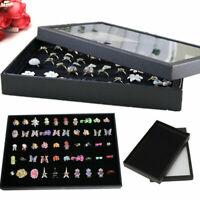 100 Samtring Ohrring Schmuck Display Aufbewahrungsbox Tablett Vitrine Organizer.
