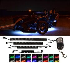 8pc 60 LED Motorcycle Underglow Accent Strips Lighting Kit For Polaris Slingshot