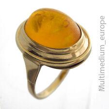 333 er Gelb Gold Ring mit Bernstein Cabochon amber 8k 8ct
