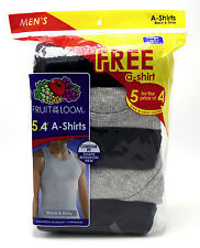 10 Black Gray Large L 42-44 Inch A-Shirt Tanks Fruit Of The Loom G 107-112 CM