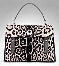 YSL GRAY LEOPARD PONY HAIR MUSE II SHOULDER HANDBAG BAG BLACK LEATHER NEW $3200