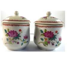Paire Antique Chinois Qing Qianlong famille rose porcelaine Crème Cups