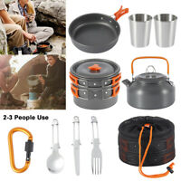 2-3 Person Kochtopf Camping Kochgeschirr Outdoor-Töpfe Bratpfanne Kettle Set