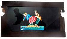 """MAGIC LANTERN-PLAQUE animée à 2 Tirettes EN VERRE"""" PEINTE""""-1890/1910-couple/ilot"""