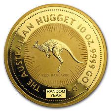 Australia 10 oz Gold Kangaroo/Nugget BU (Random Year)