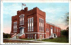 Dover Delaware Postcard 1922 Delaware 1st Infantry Old Armory Building LJ