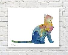 Blue Cat Abstract Watercolor Painting Art Print by Artist DJ Rogers