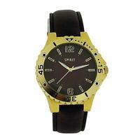 Spirit Gents Brown Dial, Goldtone Bezel & brown PU Strap Fashion Watch 911-0207