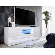 TV Schrank Lowboard Fernsehschrank Weiß Hochglanz TV Möbel LED Beleuchtung 135cm