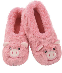 Snoozies Furry FootPals Pink Pig Slippers Women's Size Medium 7/8 NWT