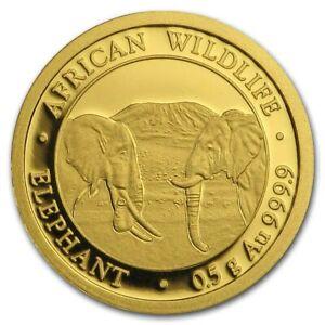 0.5 Gram 999.9 Fine Gold Bullion 24K AFRICAN WILDLIFE ELEPHANT Coin 2020