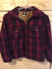 VTG Woolrich Hunting Coat Jacket Mens 40 Red Black Buffalo Plaid Wool USA