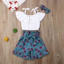 3PCS Toddler Kids Baby Girl Crop Top T-shirt+Shorts Pants Outfits Clothes Set