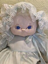 "Large 20"" Handmade Soft Sculpture Blond Blue Doll with Dress, Bonnet & Shoes"