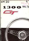 Austin Morris 1300 GT Original Handbook 1973 Pub. No. AKD 7898 Negative earth