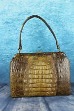 "Vintage 1950s ""Kristine"" London Hornback Crocodile Bag Handbag Suede Lined"