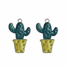 18pcs Silver Color Alloy Jewelry Enamel  Cactus Pendants Charms Crafts 53282