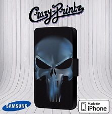 Punisher Skull Marvel Comics fits iPhone / Samsung Leather Flip Case Cover V111
