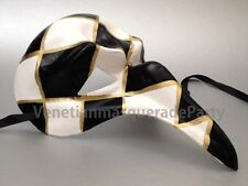Handmade harlequin black white curve Doctor Nose mask Masquerade Ball prom party