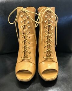 Mid-calf, Peep-toe Camel Boots With Open Ankle Size 5 1/2