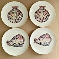 Fitz and Floyd Du Mer Dessert Salad Plates Set of 4 Seashell Plates Gold Trim
