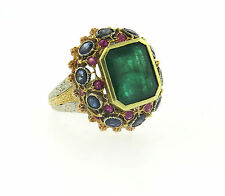 Gorgeous Buccellati 18k Gold Emerald Ruby Sapphire Cocktail Ring