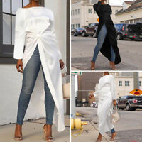 Women Party Club Long Maxi Top Pullover Long Sleeve Asymmetric T Shirt Blouse