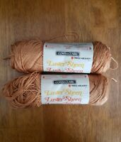 2 Coral Crush Luster Sheen Coats & Clark Vintage Retro Crafting Yarn Skeins