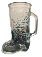 "LIBBEY OF CANADA Glass Cowboy Boot Shaped Beer Mug Cup Western Vintage 6"" Tall"