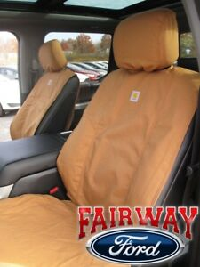 15 thru 20 F-150 OEM Genuine Ford Carhartt Front Captain Chair Seat Covers BROWN