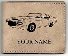 71 GTO Hdtp. Leather Billfold With Drawing and Your Name On It-Nice Quality
